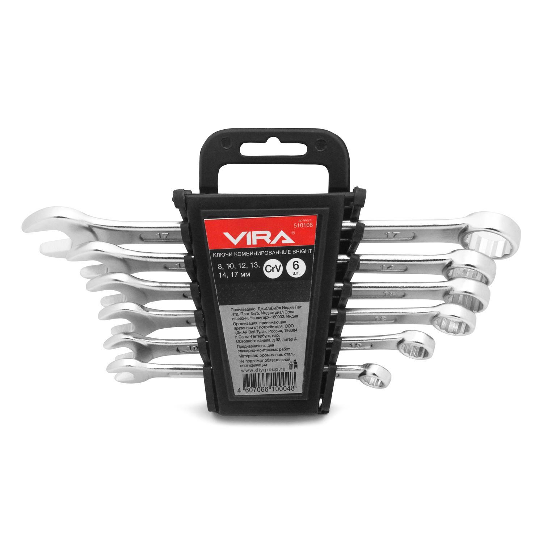 Набор комбинированных гаечных ключей в держателе, 6 шт. Vira 510106 (8 - 17 мм)  ключи vira 510106 набор 6 шт