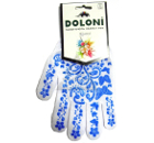 Перчатки ПВХ DOLONI 711  белая с голубым рисунком ПВХ (бабочка)