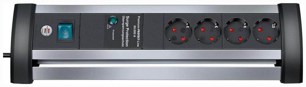 Сетевой фильтр Brennenstuhl Alu-office-line 1395000414  удлинитель настольный brennenstuhl alu office line 6 гн с заземл алюм корпус 3 м выключатель