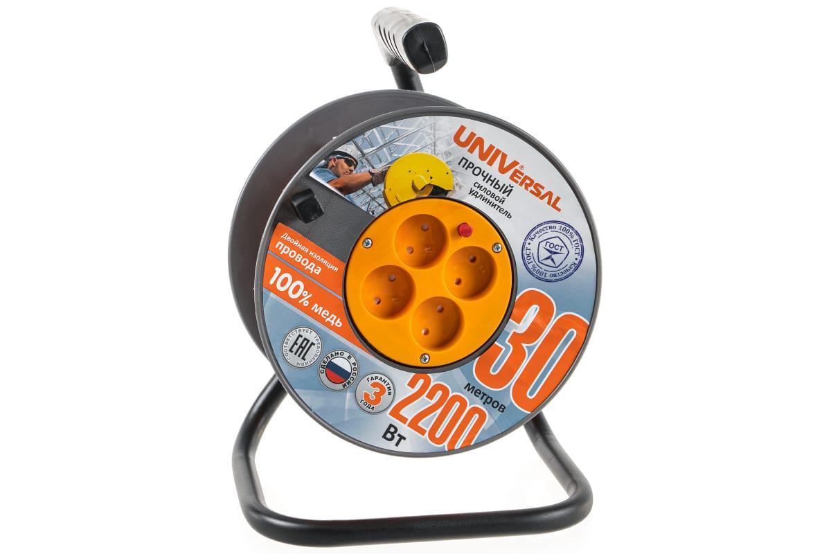 Удлинитель Universal ВЕМ-250 термо ПВС 2*1 4гнезда 30м силовой удлинитель universal вем 250 термо пвс 3 0 75 20м 9634151