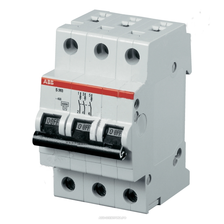 Автомат Abb S203 c63  автомат 3p 6а тип с 6ка abb s203