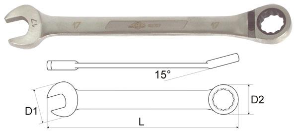 Ключ гаечный комбинированный с трещоткой 9х9 Aist 11709