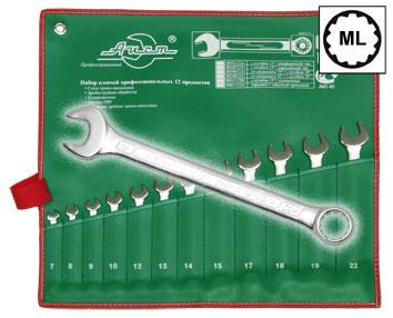 Набор комбинированных гаечных ключей в чехле, 12 шт. Aist 0011312a1 (7 - 22 мм)  набор комбинированных гаечных ключей airline 7 шт
