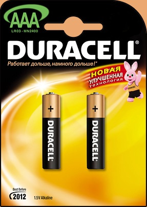 Батарейка Duracell Lr03 bp12 1.5В aaa (тонкая) 2шт