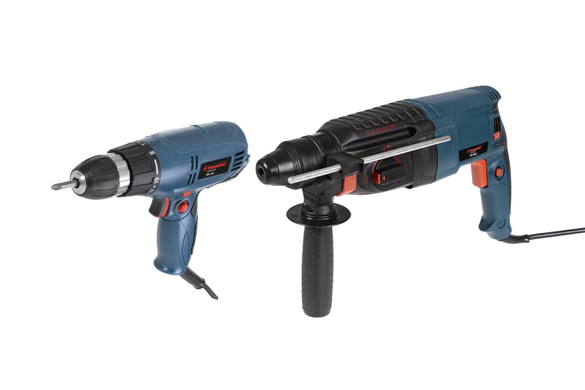 Набор: Перфоратор Hammer Перфоратор prt800c + Сетевой шуруповерт drl 300