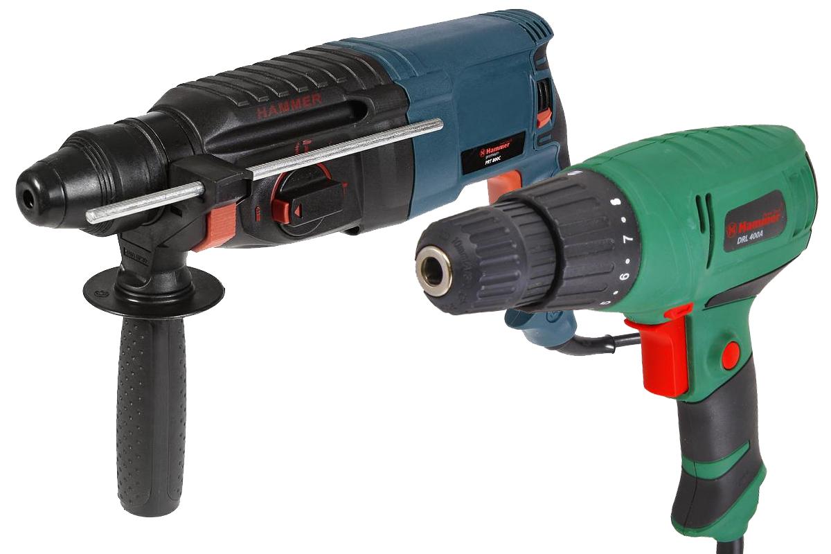 Набор: Перфоратор Hammer Prt800c premium  +  Дрель-шуруповерт drl400a  в подарок hammer prt 1100 le premium