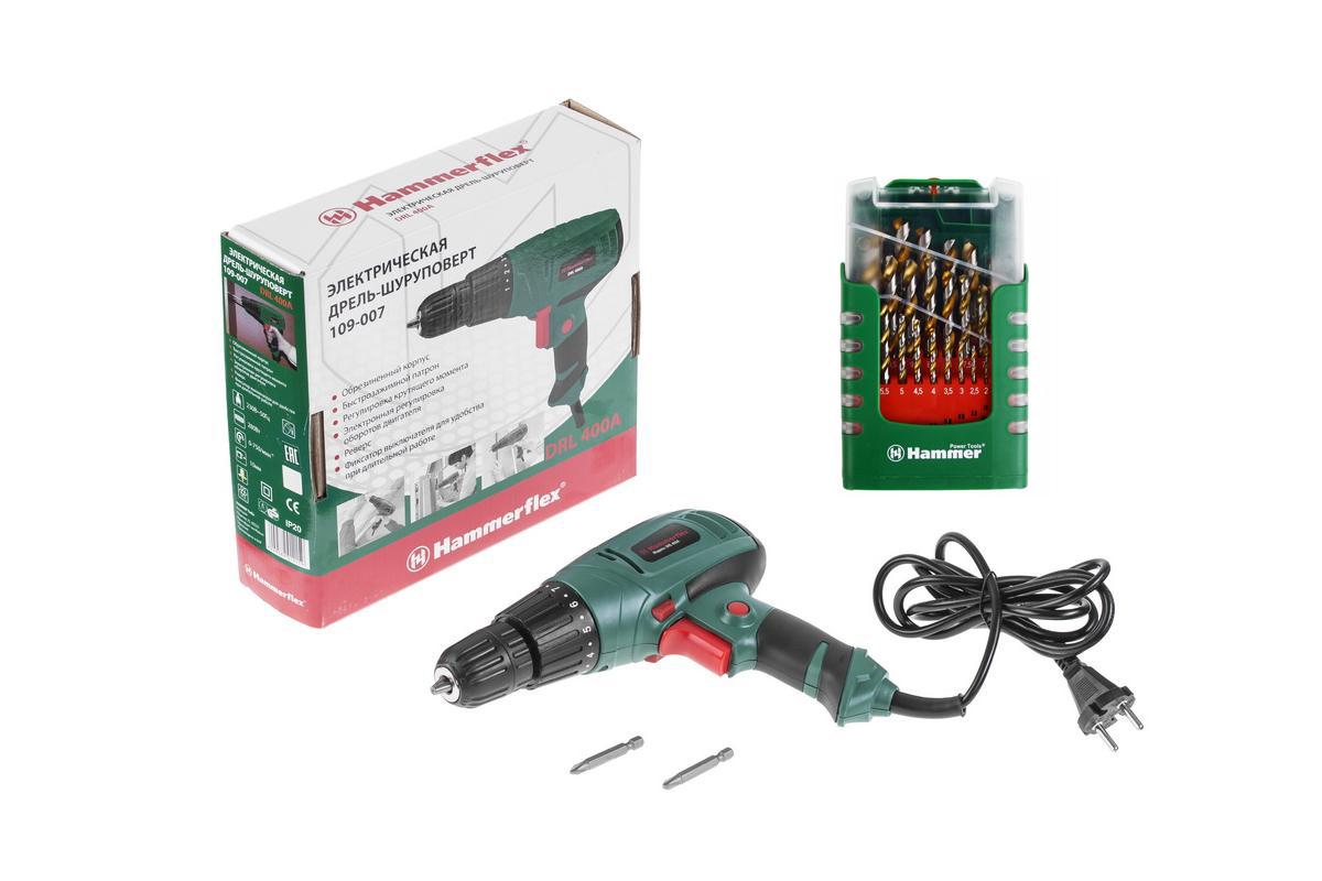 Набор: Дрель-шуруповерт Hammer Flex drl400a + 37077 сверел hammerflex 202-908