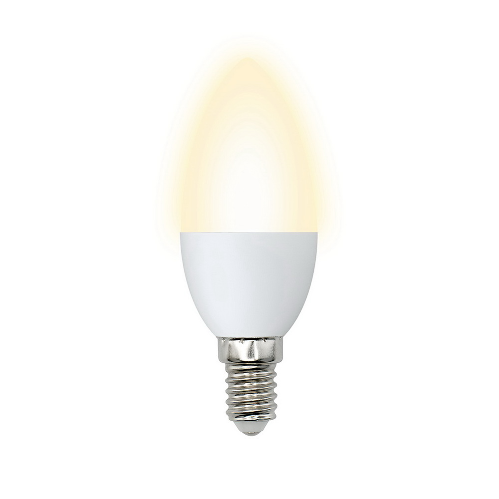 Лампа светодиодная Volpe Led-c37-6w/ww/e14/fr/o 10шт  лампа светодиодная ul 00000308 e14 6w 3000k свеча на ветру матовая led cw37 6w ww e14 fr o volpe 1154113