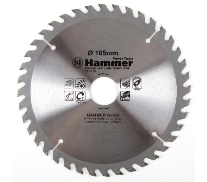 Диск пильный твердосплавный HAMMER 185х30/20мм 40 зуб.