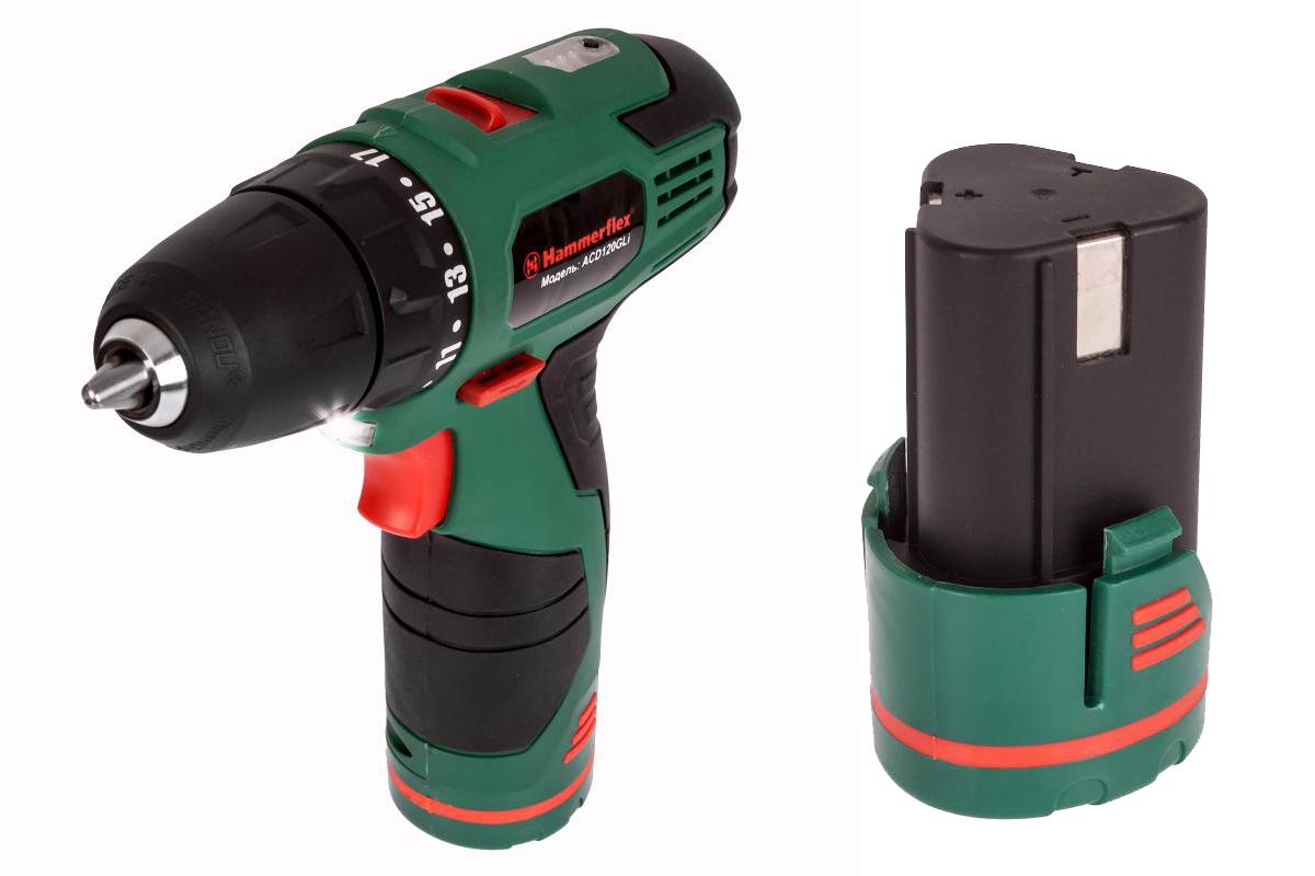 Набор: Дрель аккумуляторная Hammer Acd120gli + 136183 Аккумулятор 1,3 Ач