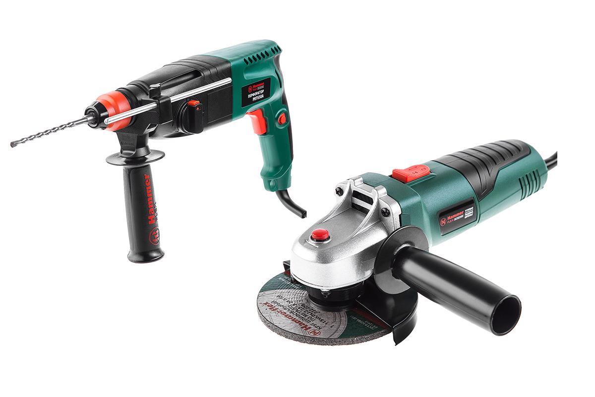 Набор Hammer перфоратор prt650a + УШМ usm500le hammer prt 1100 le premium