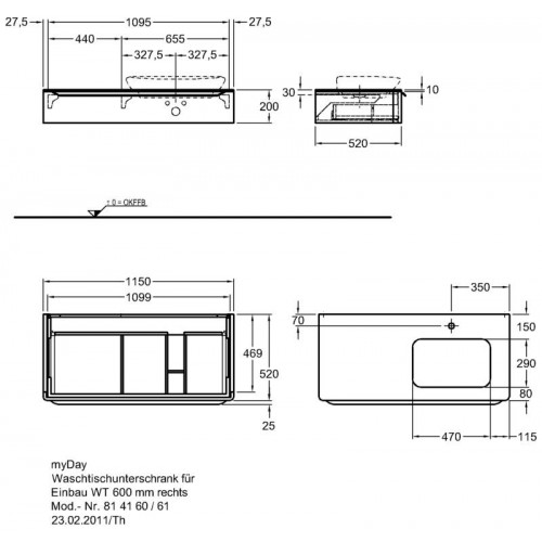 Столешница Keramag F824160000