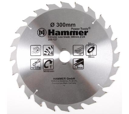 Диск пильный твердосплавный HAMMER 300х32/30мм 24 зуб.
