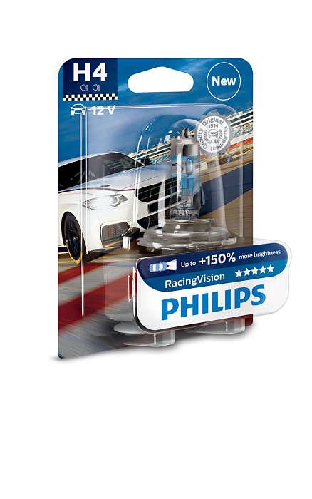 Лампа автомобильная Philips H4 12v- 60/55w (p43t) racing vision галогеновая лампа philips h4 12v 60 55w p43t 38 visionplus