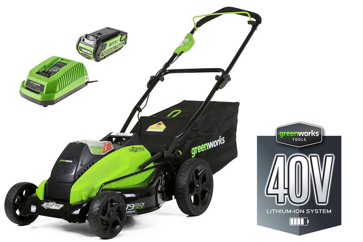 Аккумуляторная газонокосилка Greenworks G40lm45 (2500107) 1акк 40В 2Ач + ЗУ