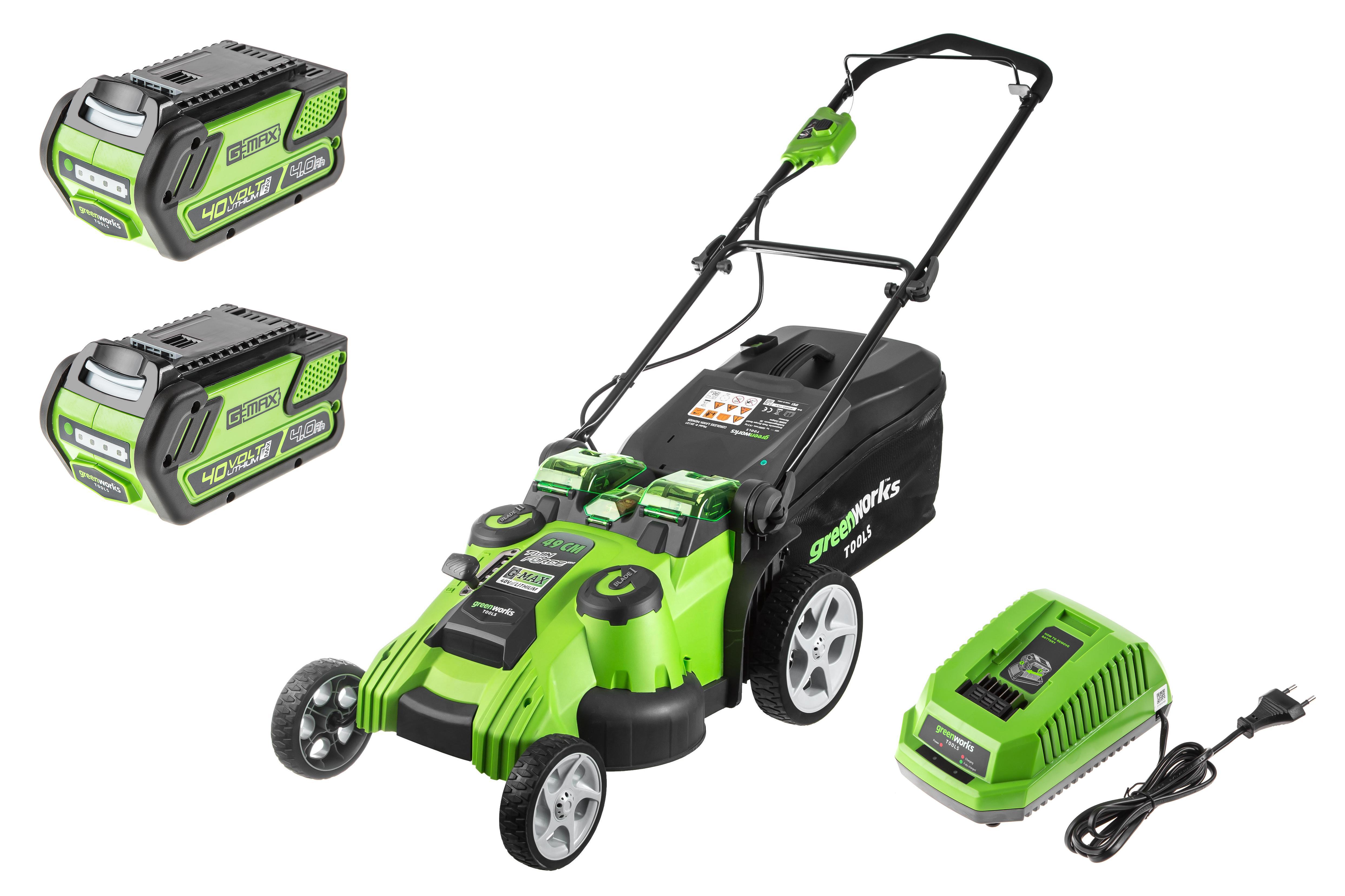 Аккумуляторная газонокосилка Greenworks G40lm49db (2500207) 1акк 40В 4Ач + ЗУ
