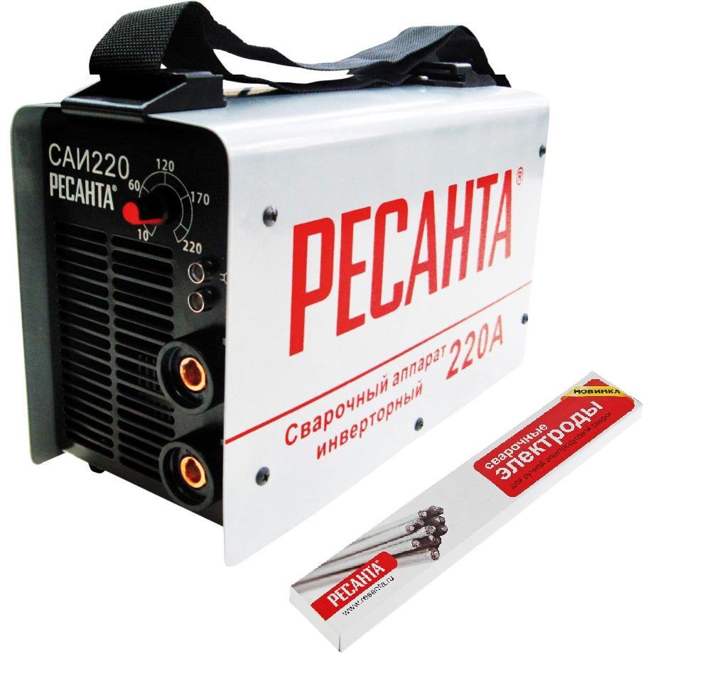 Сварочный аппарат РЕСАНТА САИ 220 инверторный+ Электроды для сварки МР-3 Ф3,0 1Кг