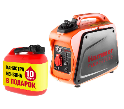 Купить Набор HAMMER Бензоэлектростанция GN1200i 1,2КВт+Топливная карта АИ-92 10л + Канистра 10л, генераторы (электростанции)