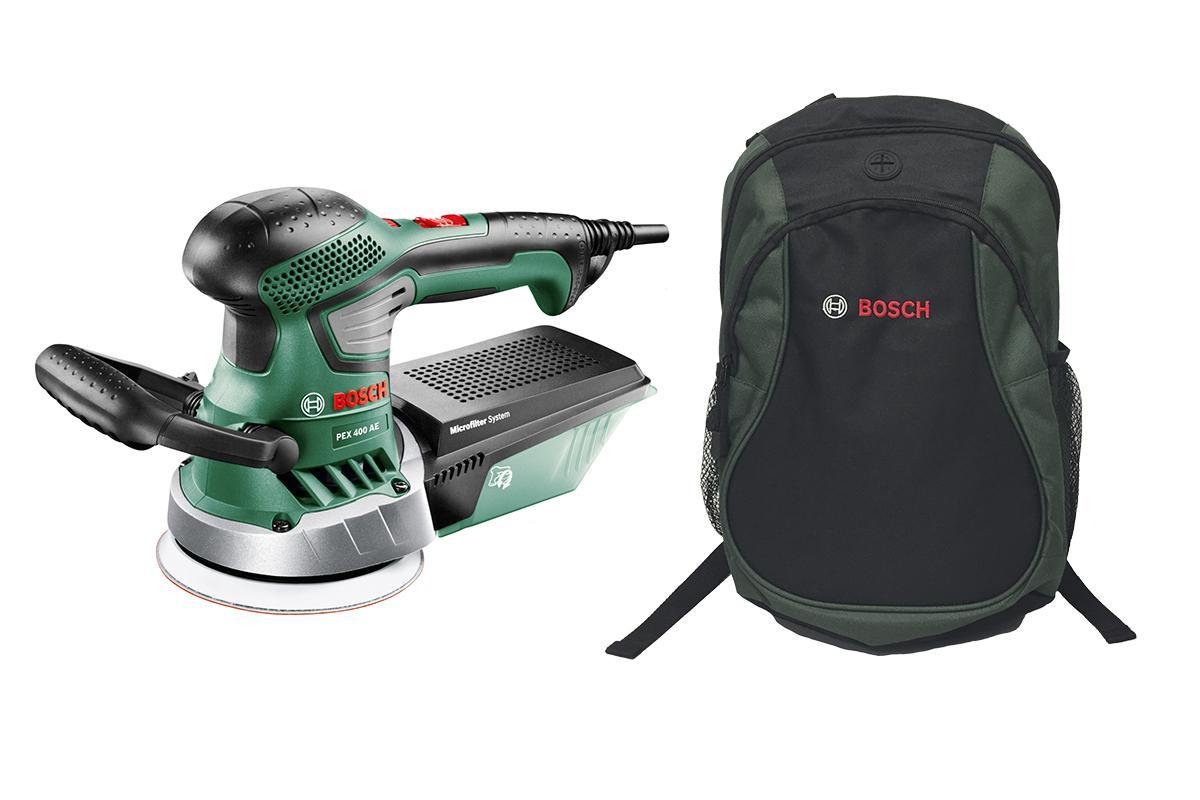 Набор Bosch Шлиф.машина орбитальная pex 400ae (06033a4020) + рюкзак green (1619g45200)