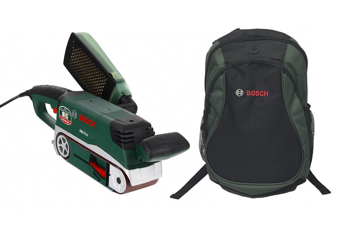 Набор Bosch Шлиф.машинка ленточная pbs 75a (06032a1020) + рюкзак green (1619g45200)
