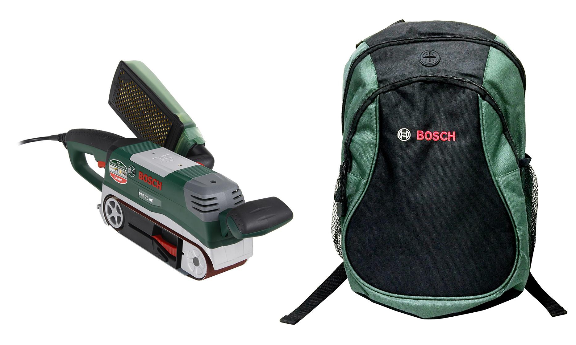Набор Bosch Шлиф.машинка ленточная pbs 75 ae (06032a1120) + рюкзак green (1619g45200)