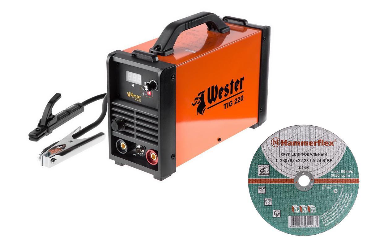Набор Wester инвертор сварочный tig 220 + Круг шлифовальный hammer 230x6x22.23мм 20шт