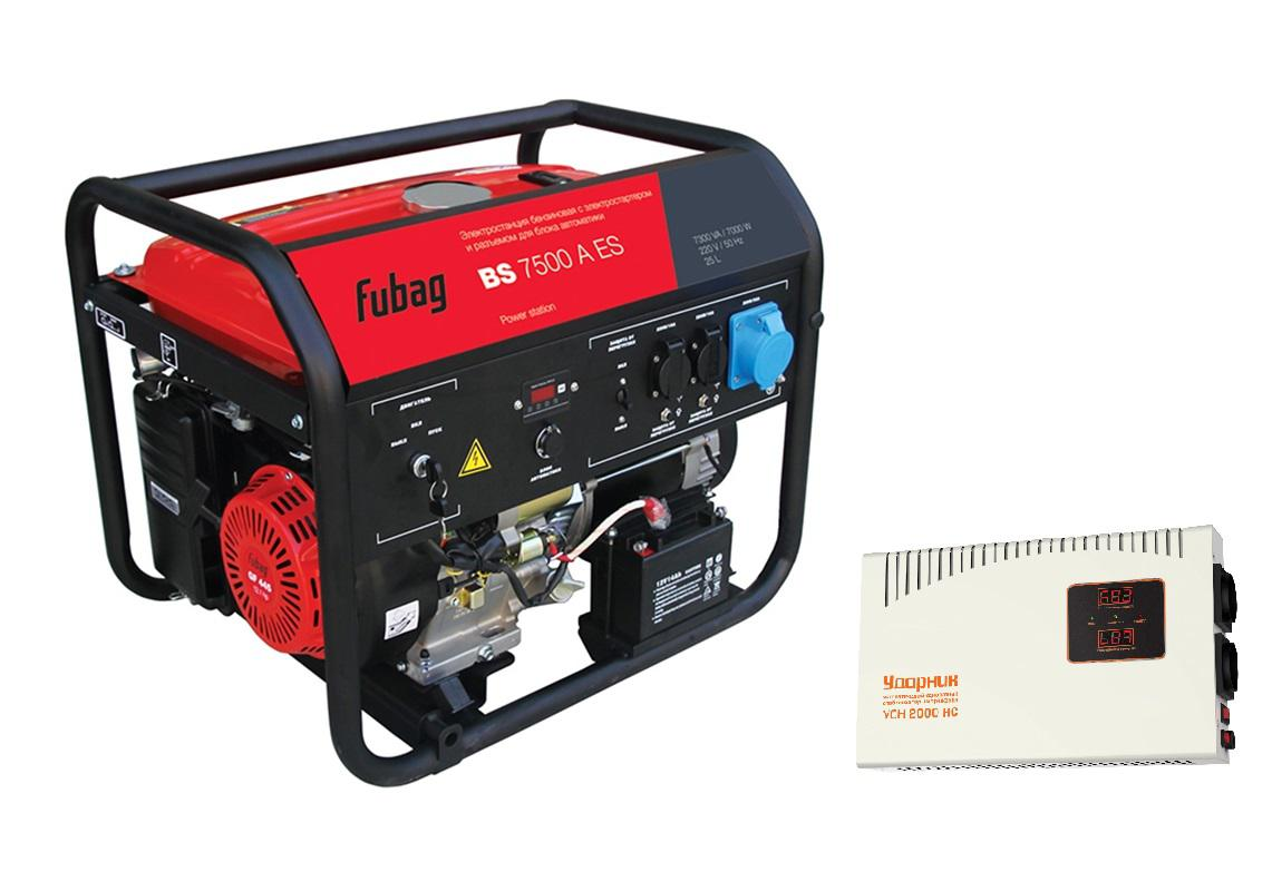 все цены на  Бензиновый генератор Fubag Bs 7500 a es + Стабилизатор напряжения УДАРНИК УСН 2000 НС  онлайн
