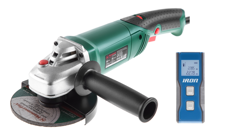 Набор Hammer УШМ usm1050a + дальномер iron la20  угловая шлифмашина hammer usm1050a