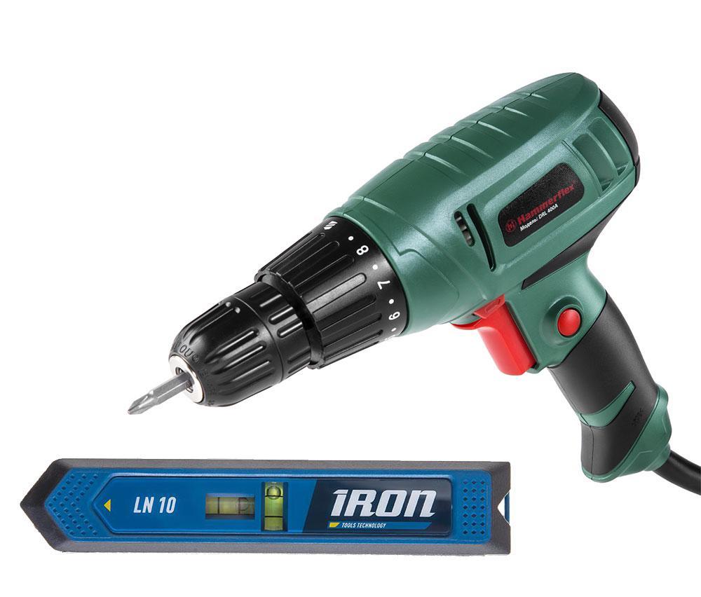 Набор Hammer дрель drl400a + уровень лазерный iron ln10