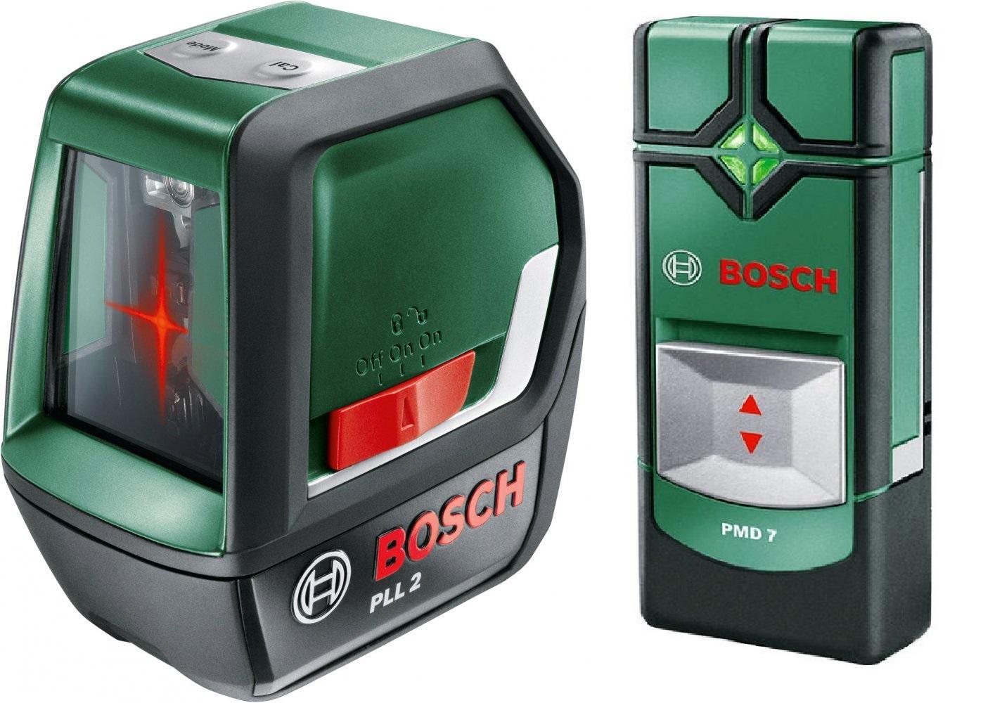 Уровень Bosch Pll 2 eeu (0.603.663.420) + Детектор pmd7 триммер электрический bosch аrt 23 18 li w eeu [06008a5c06]