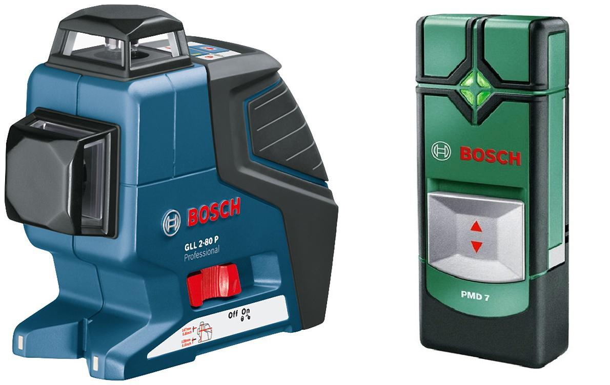Уровень Bosch Gll 2-80 professional (0.601.063.204) + Детектор pmd7  детектор bosch pmd 7 0603681121