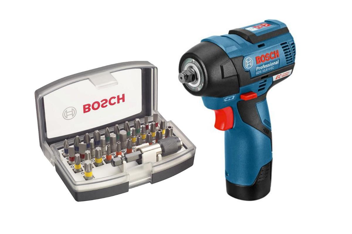 Набор Bosch Гайковерт аккумуляторный gds 10.8 v-ec (0.601.9e0.100),Набор бит 2.607.017.319