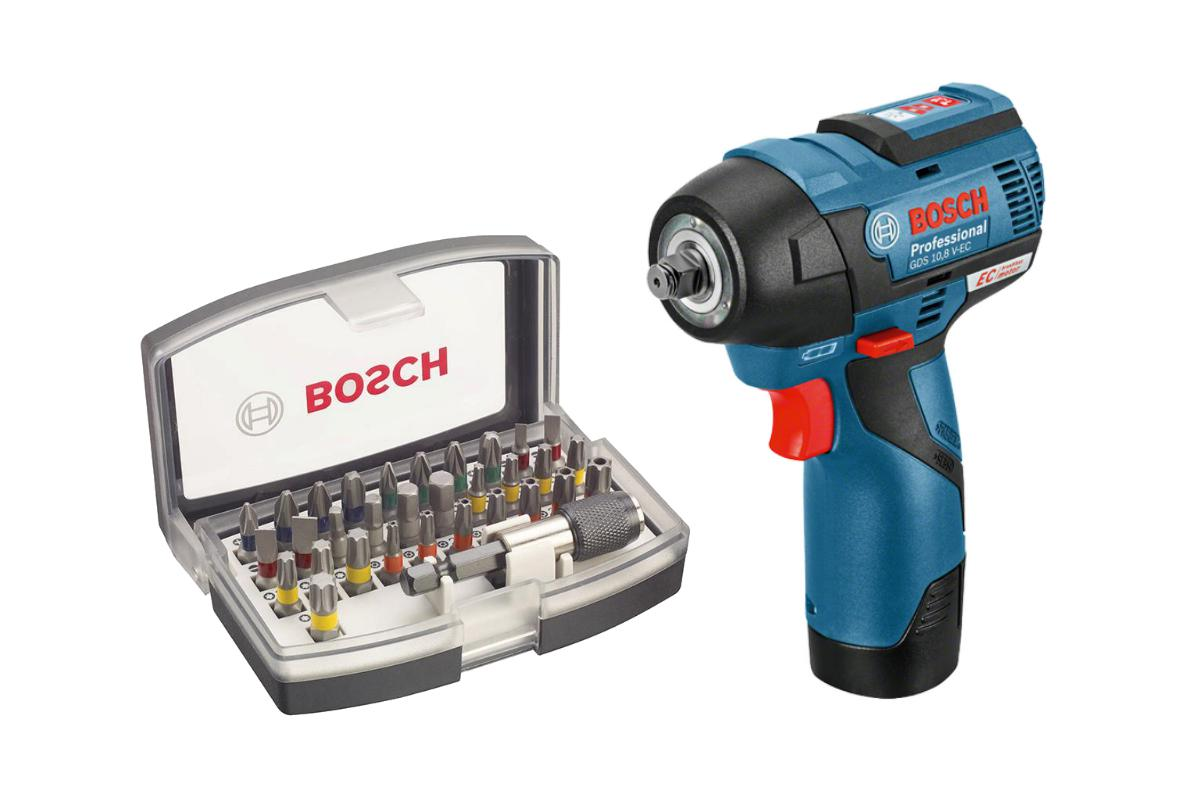 Набор Bosch Гайковерт аккумуляторный gds 10.8 v-ec (0.601.9e0.101),Набор бит 2.607.017.319