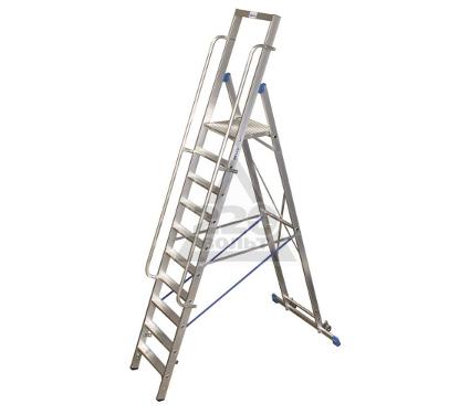 Стремянка алюминиевая с поручнями и большой площадкой KRAUSE STABILO 10 ступеней