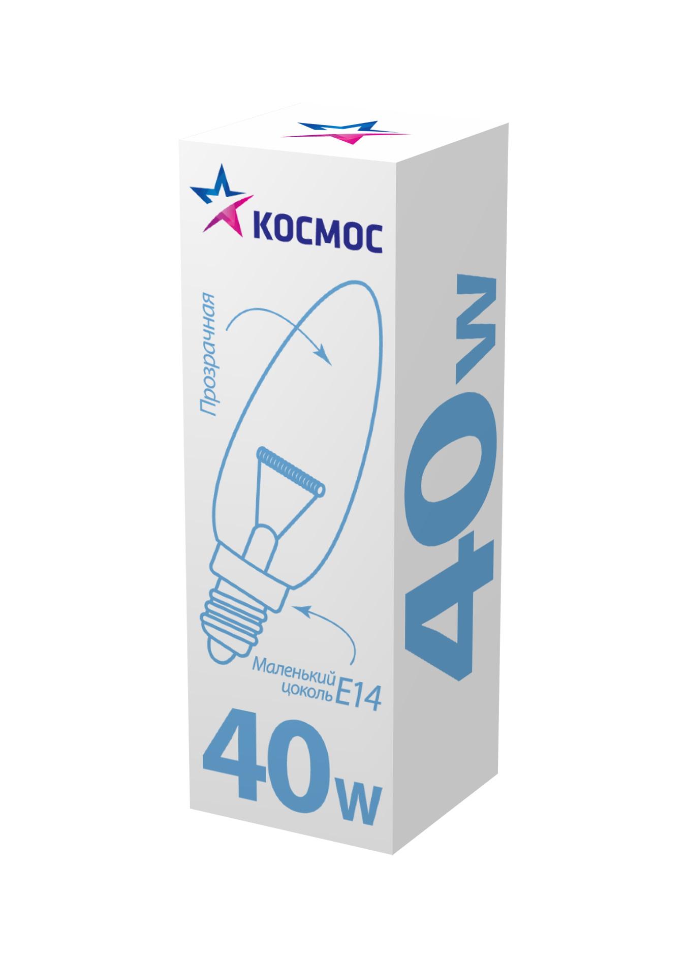 Лампа накаливания КОСМОС 40 Ватт свеча прозрачная Е14