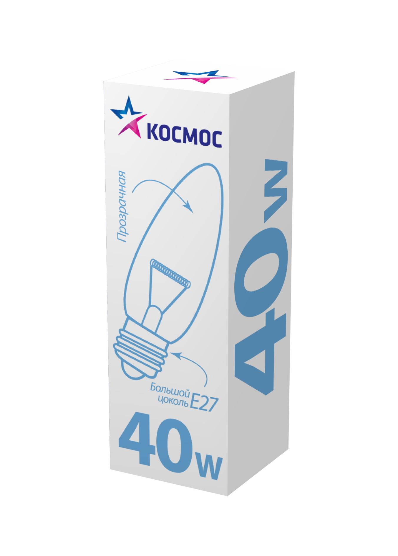 Лампа накаливания КОСМОС 40 Ватт свеча прозрачная Е27