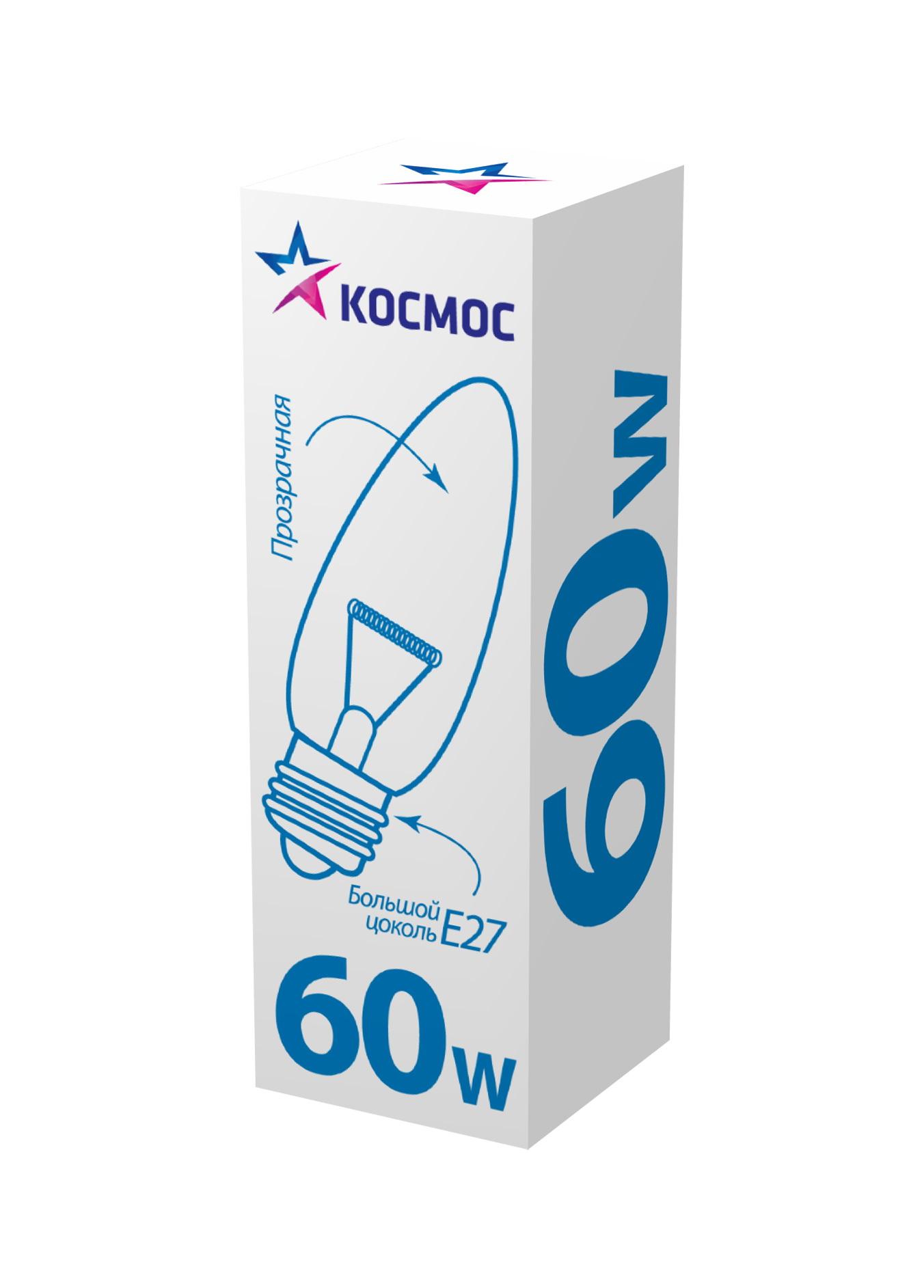 Лампа накаливания КОСМОС 60 Ватт свеча прозрачная Е27