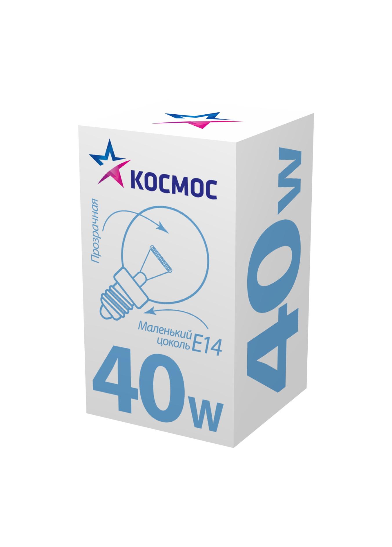 Лампа накаливания КОСМОС 40 Ватт шар прозрачная Е14