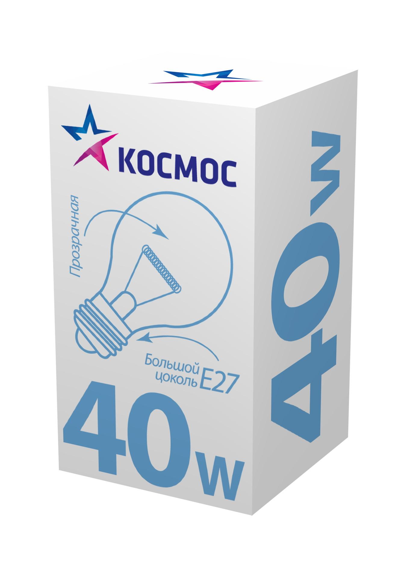 Лампа накаливания КОСМОС 40 Ватт груша прозрачная Е27