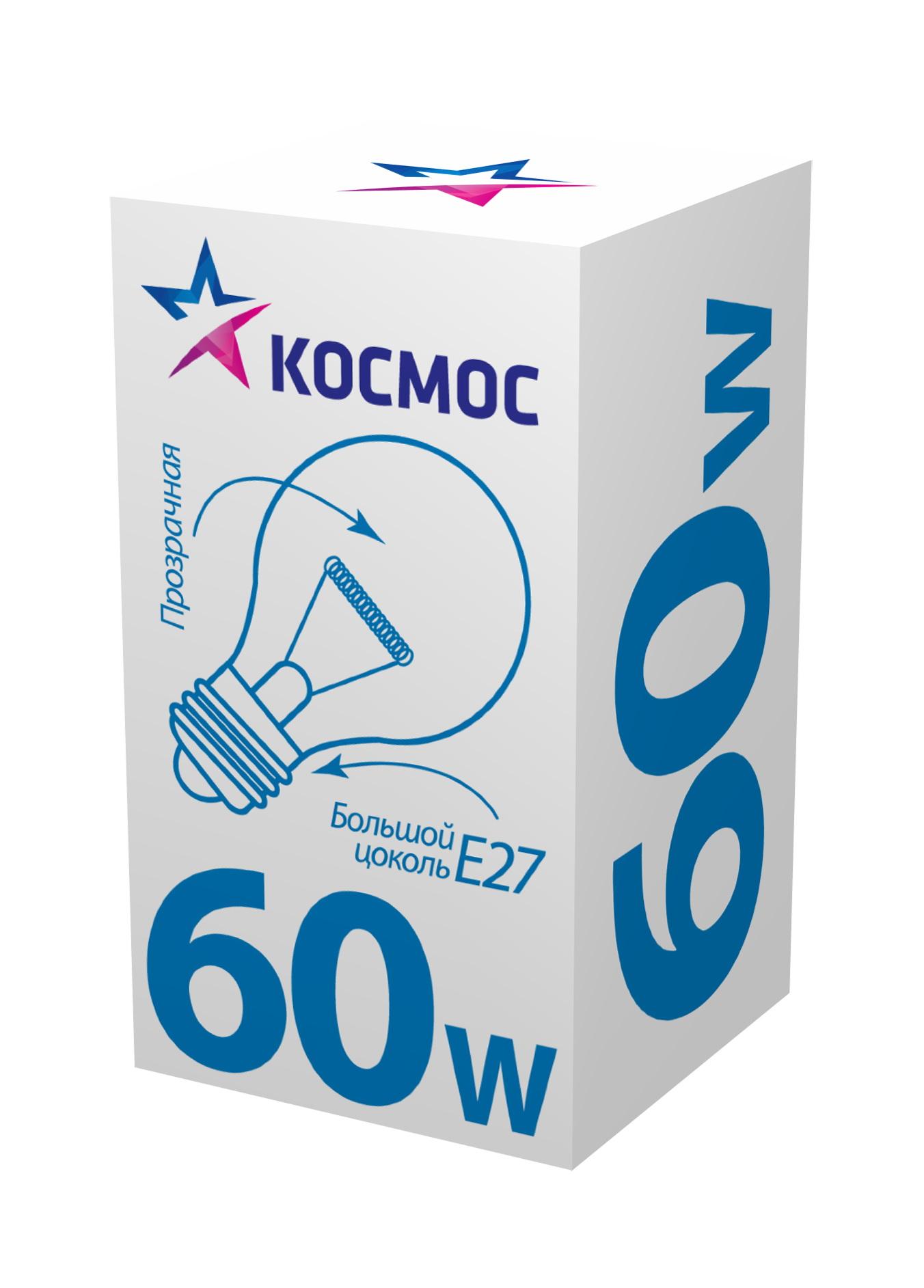 Лампа накаливания КОСМОС 60 Ватт груша прозрачная Е27
