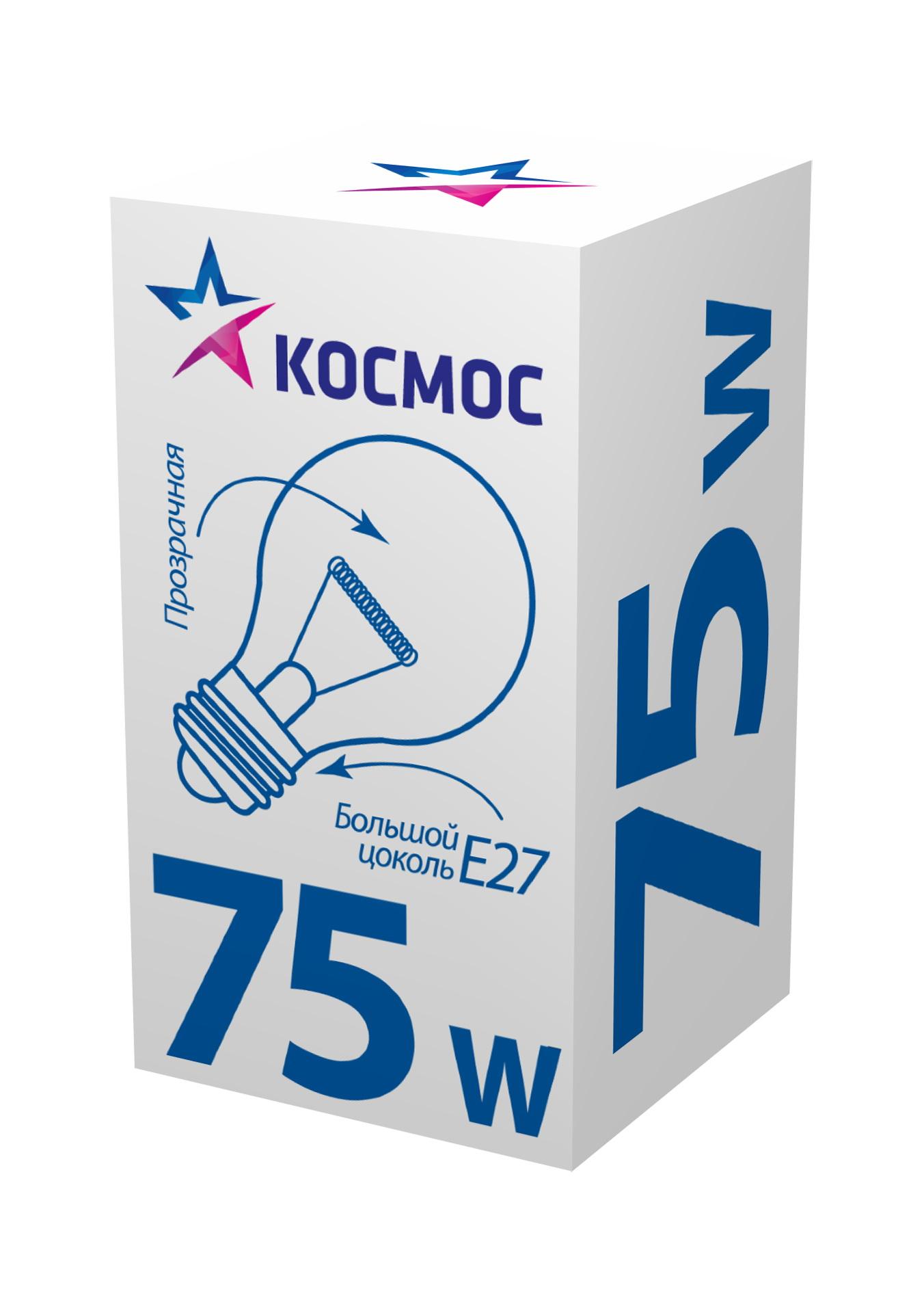 Лампа накаливания КОСМОС 75 Ватт груша прозрачная Е27