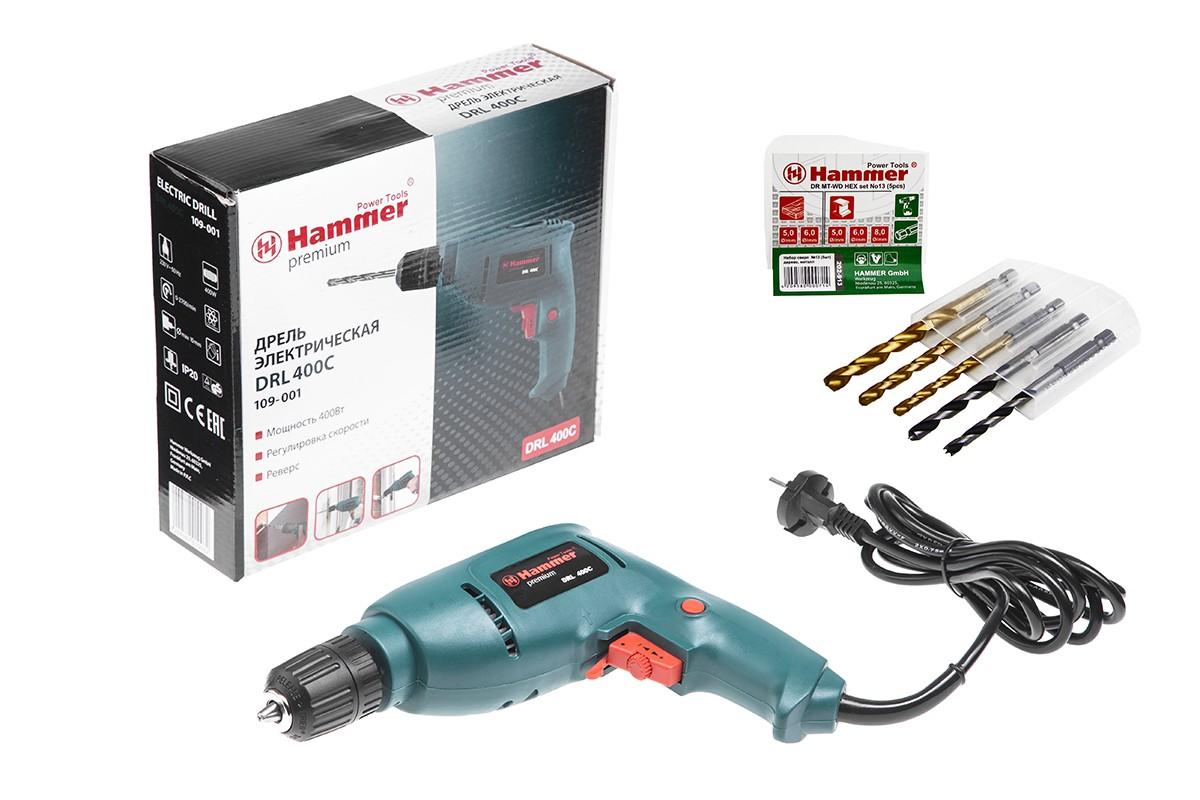 Дрель Hammer Drl400c premium +5 сверел по металлу/дереву