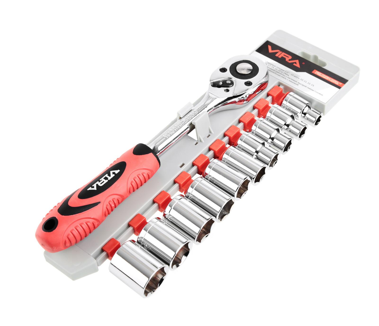Набор гаечных ключей с трещоткой, 11 предметов Vira 305049  1/2''