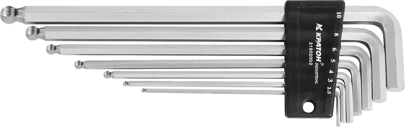 Набор шестигранных ключей угловых с шаром, 7 шт. КРАТОН Industrial