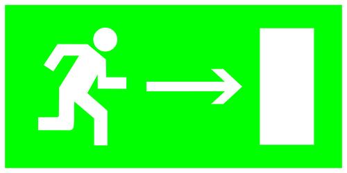 Знак ТДМ направление к эвакуационному выходу направо
