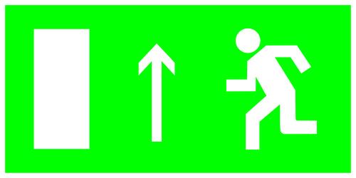 Знак ТДМ направление к эвакуационному выходу прямо