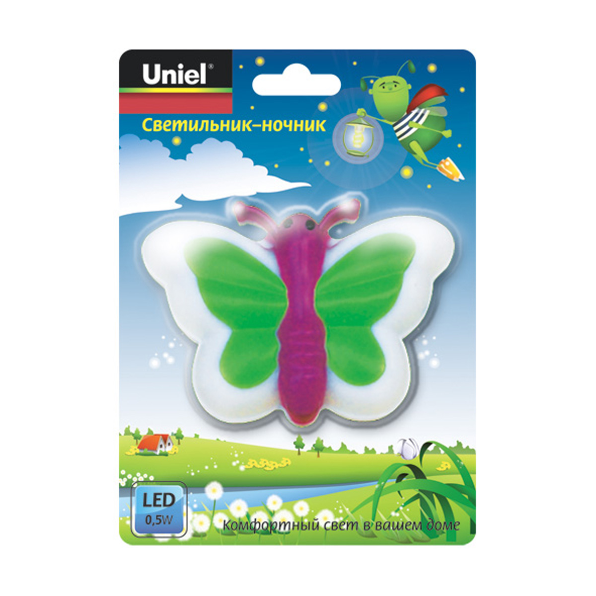 Ночник Uniel Dtl-301-Бабочка/pink/3led/0,5w