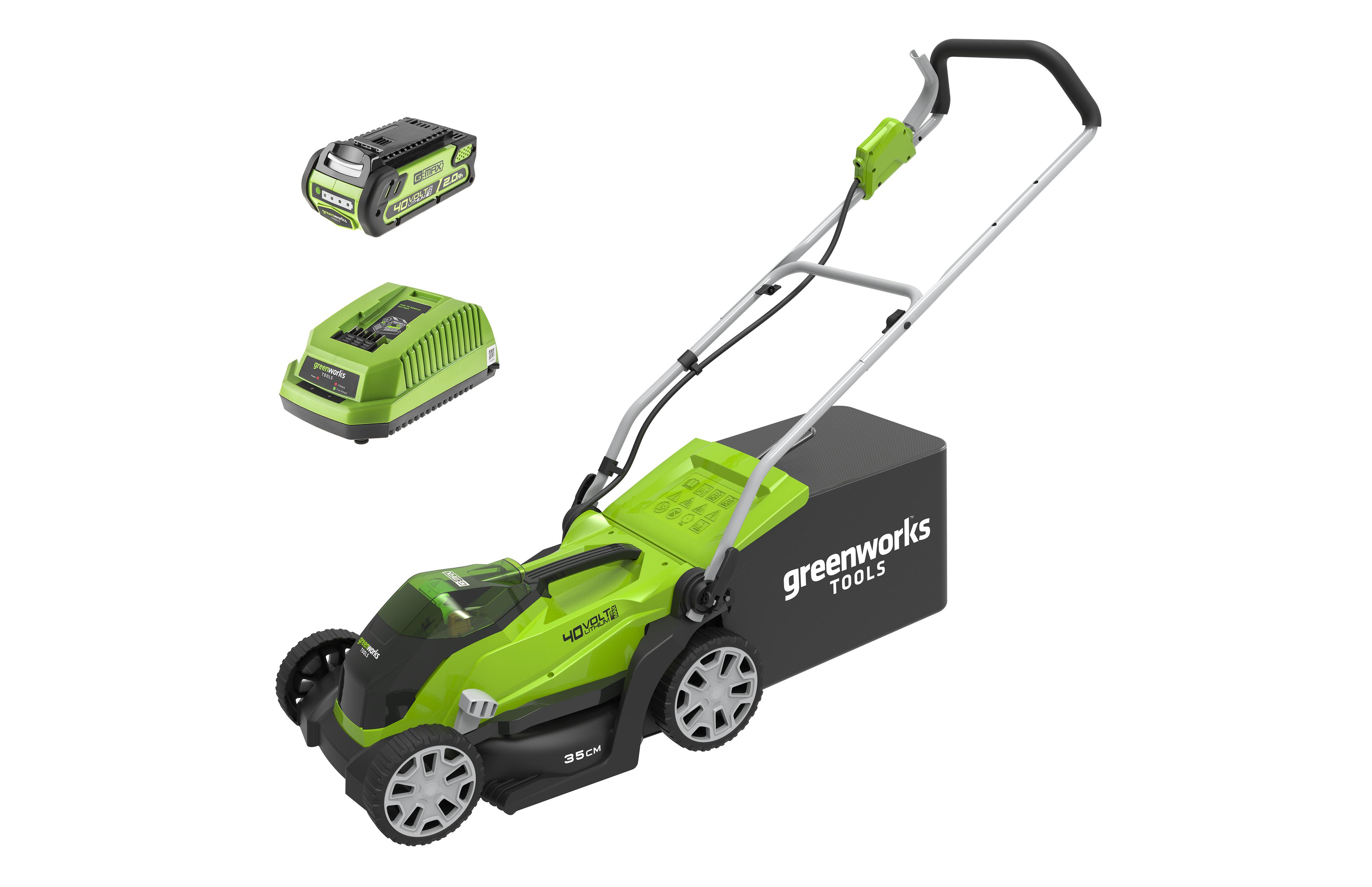 Аккумуляторная газонокосилка Greenworks G40lm35k2x (2501907ua)