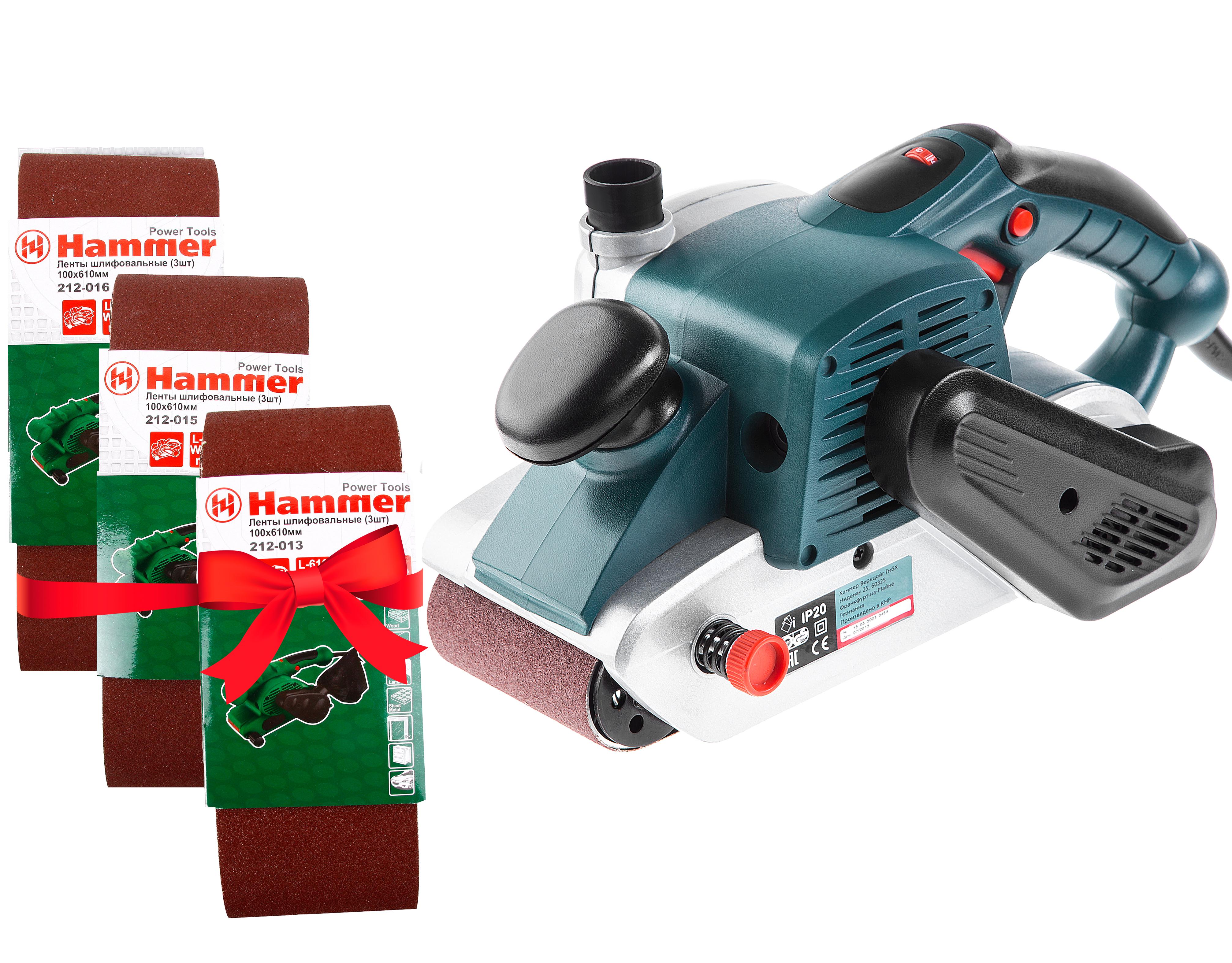 Набор Hammer шлиф.машинка lsm1000+лента шлиф. Р40, 80, 100