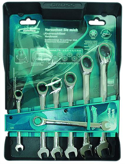 Набор гаечных комбинированных ключей с трещоткой, 7 шт. Gross 14892 комбинированные ключи